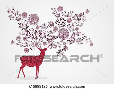 clipart merry christmas vintage reindeer snowflakes and winter elements background eps10 vector file