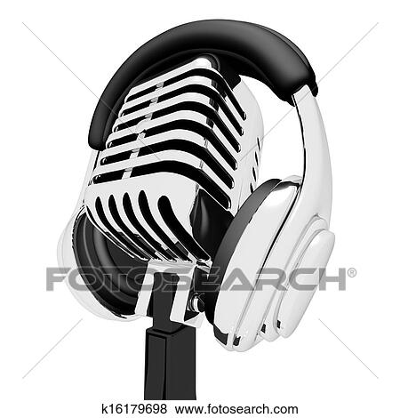 Mic And Headphones Shows Recording Studio Or Record Stock ...