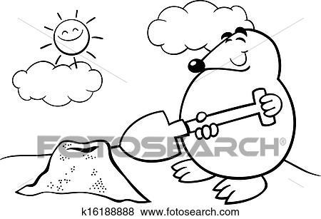 Clip Art Of Mole Cartoon Illustration Coloring Page K16188888