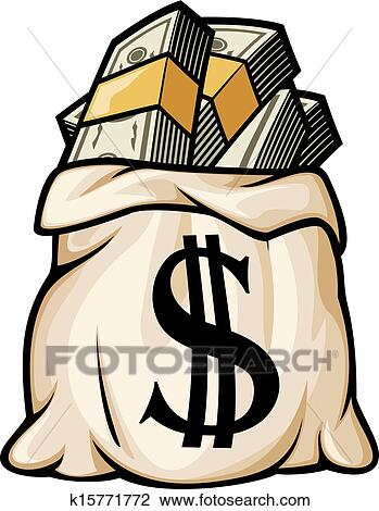 Clipart Money Bag With Dollar Sign Fotosearch Search Clip Art Ilration Murals