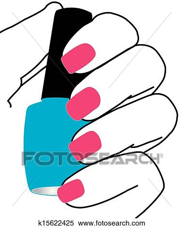 clipart of nails with a nail polish in hand k15622425 search clip rh fotosearch com nail polish clipart png nail polish clip art border