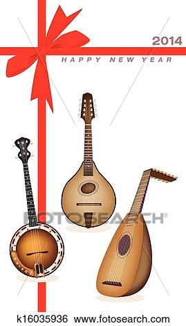 an illustration of a beautiful antique musical instrument strings bluegrass mandolin banjo and lute on 2014 new year card