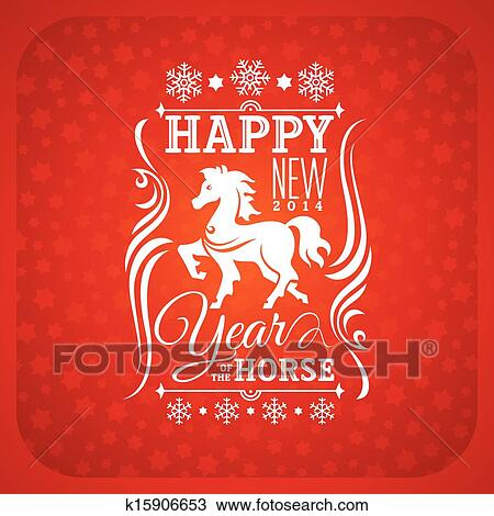 clipart new year greeting card with horse fotosearch search clip art illustration