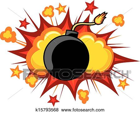 clip art of old bomb starting to explode k15793568 search clipart rh fotosearch com explosion clipart black and white explosion clipart free