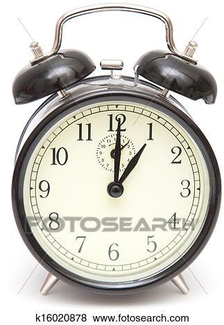 Old Fashioned Alarm Clock Black Isolated On White