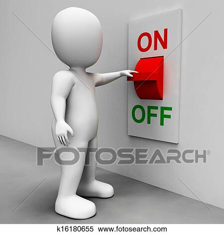 stock illustration of on off switch shows energy supply k16180655