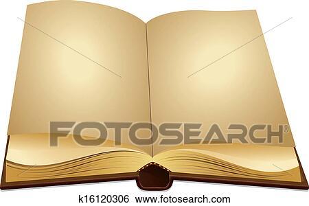 Clip Art Of Open Ancient Book K16120306