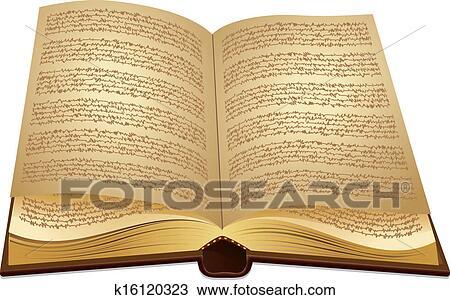 Ouvert Ancien Livre Clipart