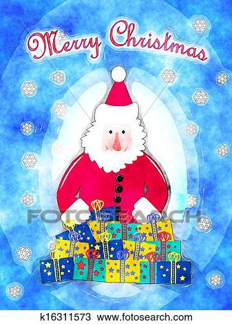 Père Noël à Présente Dessin