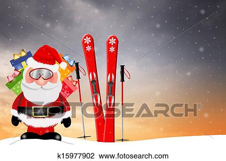 Image Pere Noel En Ski.Pere Noel A Ski Pour Noel Dessin