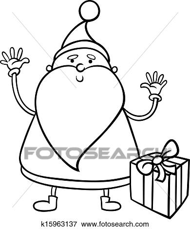 Pere Noel Dessin Anime Coloration Page Clipart K15963137 Fotosearch