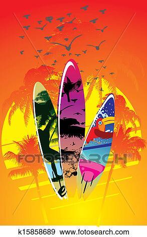 Clip Art Of Palm Beach Surfboard Design Vector Rat K15858689