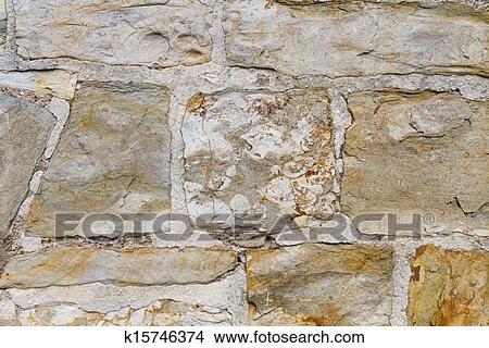 Dibujos Pared De Piedra Exterior Con Amarillo Piedras Y - Piedra-pared-exterior