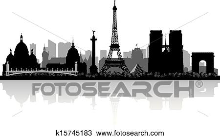 Clipart Of Paris France City Skyline Silhouette K15745183