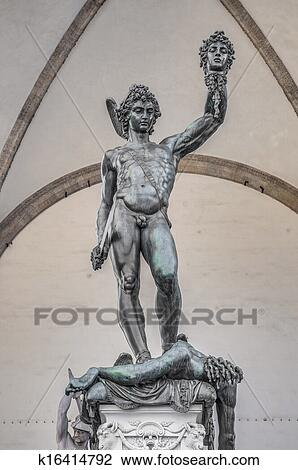 Perseus With The Head Of Medusa In Florence Italy Stock