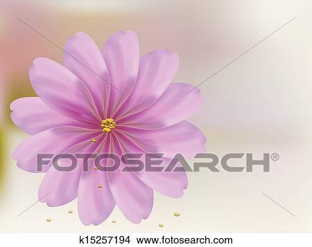 Petalo Rosa Fiore Conchiglia Su Sfondo Rosa Clipart
