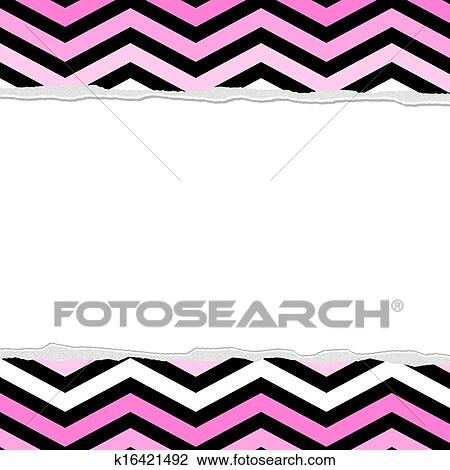 clip art of pink white and black chevron torn background for your rh fotosearch com invitation clip art images clipart invitation repas