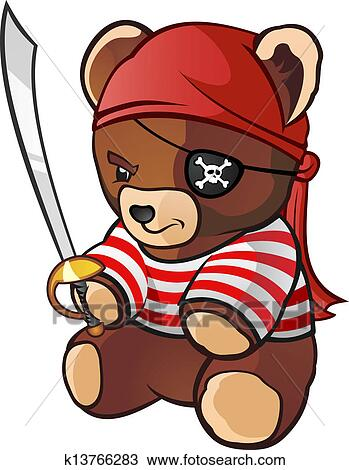 Clipart Pirate Ours Peluche Dessin Anime Caractere K13766283