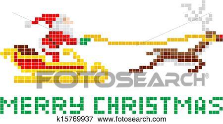 pixel art christmas santa and sled clip art k15769937 fotosearch https www fotosearch com csp994 k15769937