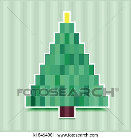 Clipart - pixel christmas tree. Fotosearch - Search Clip Art, Illustration Murals, Drawings