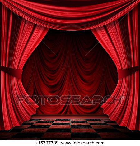 Stock Illustraties - realistisch, rode gordijnen k15797789 - Zoek ...