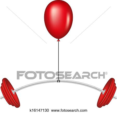 clipart of red balloon lifting a heavy barbell k16147130 search