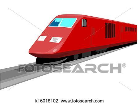 Red Train Front View Drawing