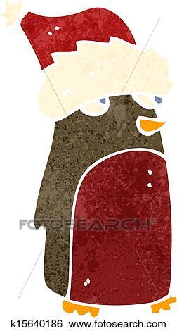 Funny Christmas Pics.Retro Cartoon Funny Christmas Robin Clip Art