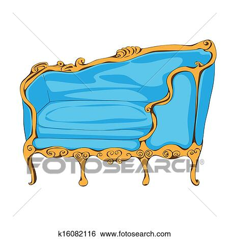 Rococo Blue Sofa Hand Drawn Illustration, Cartoon Over A White Background