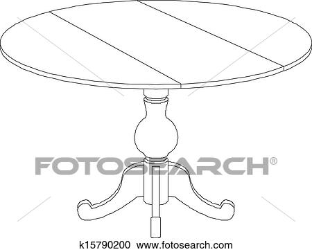Coffee Table Drawing For Round Table Drawing Clipart Of Round K15790200 Search Clip Art