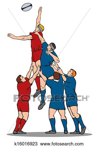 Rugby Player Catching Lineout Ball Drawing K16016923