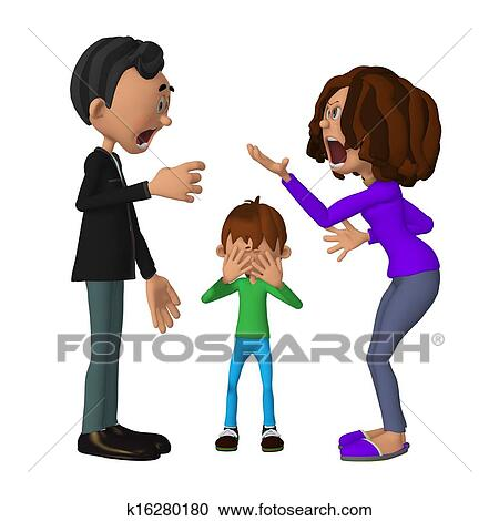stock illustrations of sad 3d child hearing his parents arguing rh fotosearch com