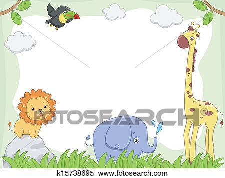 Clipart of Safari Animal Frame k15738695 - Search Clip Art ...