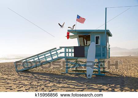 Santa Monica Beach Liuard Tower In California Stock Photograph