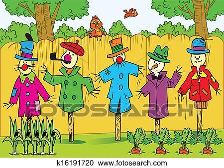 Scarecrows In The Garden Clipart K16191720 Fotosearch
