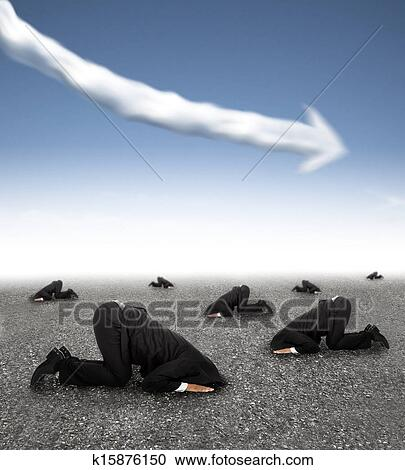 Scared Businessman Hiding On The Ground With Business Graph Down Concept Stock Image