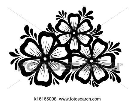 Clip Art - schön, blumen-, element., schwarzweiss, blumen, und ...