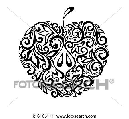 Clipart - schön, schwarz weiß, apfel, dekoriert, mit, blumen ...