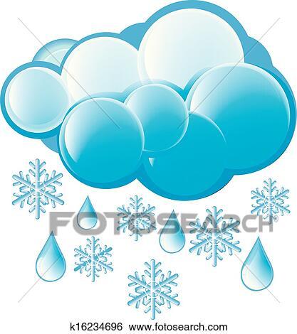 Clip Art Schnee Und Regen Symbol K16234696 Suche Clipart