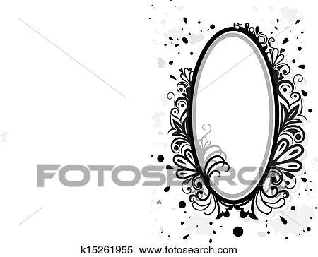Clipart - schwarz weiß, blumen-, rahmen, mit, farbe, splashes ...