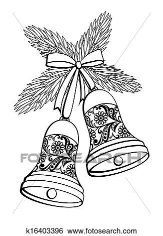 Weihnachtsbaum Schwarz Weiß.Schwarz Weiß Silhouette Von A Glocke Mit A Blumen Design Hängen A Weihnachtsbaum Branch Clip Art