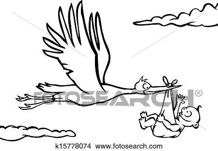Schwarz Weiß Storch Mit Baby Clipart K15778074 Fotosearch
