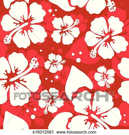 Seamless Pattern With Hawaiian Hibiscus Flower Clipart K16012581