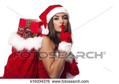 Babbo Natale Femmina Immagini.Sexy Babbo Natale Donna Con Natale Sacco Detto Shh Archivio Fotografico