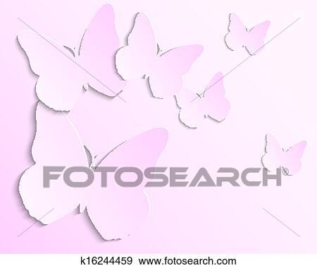 Sfondo Rosa Con Carta Farfalle Clip Art K16244459 Fotosearch