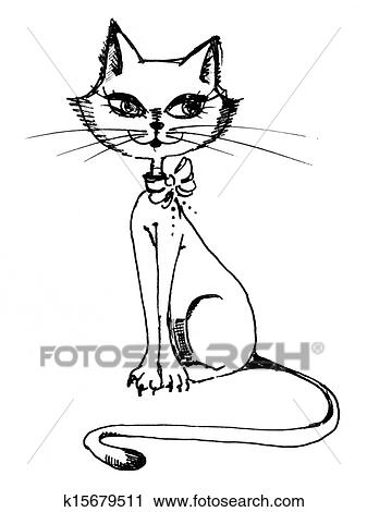 Clipart Of Sitting Beautiful Cat K15679511 Search Clip Art