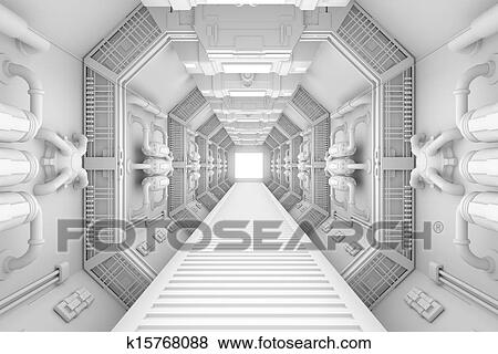 Stock Illustration   Spaceship Interior Center View. Fotosearch   Search  EPS Clip Art, Drawings