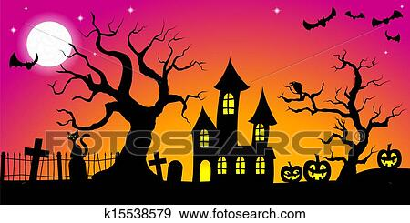 Halloween Spooky.Spooky Halloween Background Clip Art
