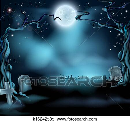 clipart of spooky halloween background scene k16242585 search clip
