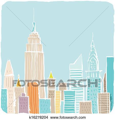 Tekeningen Spotprent New York Stad Schets K16278204 Zoek